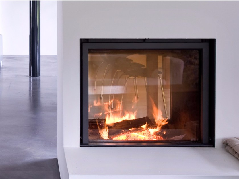 Double-sided wood-burning glass and steel fireplace STÛV 21-75 DF - Stûv