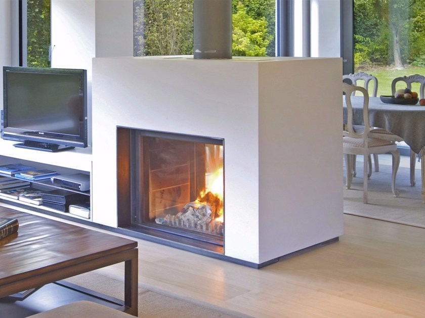 Double-sided wood-burning built-in glass and steel fireplace STÛV 21-95 DF - Stûv