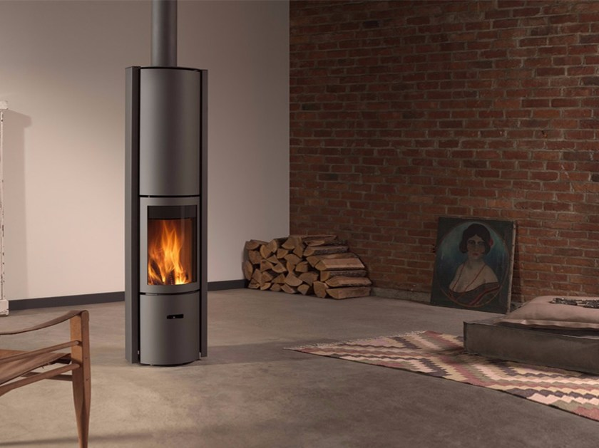 Wood-burning swivel stainless steel stove with Thermal Accumulation STÛV 30-COMPACT H - Stûv