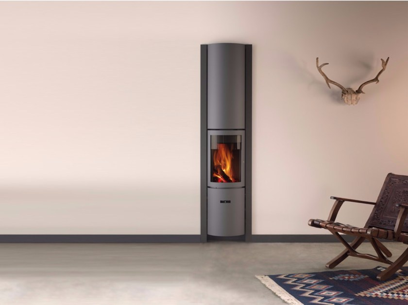 Wood-burning wall-mounted stainless steel stove for air heating STÛV 30-COMPACT IN - Stûv