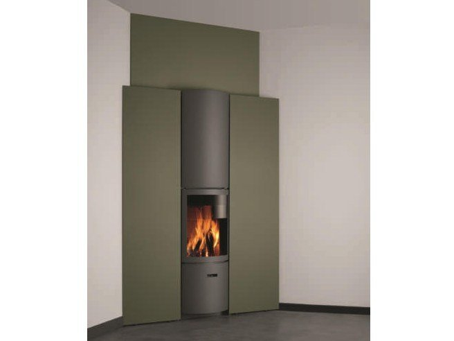 Wood-burning wall-mounted stove for air heating STÛV 30-IN | Corner stove - Stûv