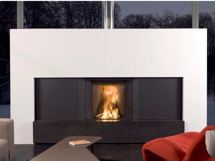 Wood-burning built-in fireplace with cabinets STÛV MICROMEGA | Fireplace - Stûv