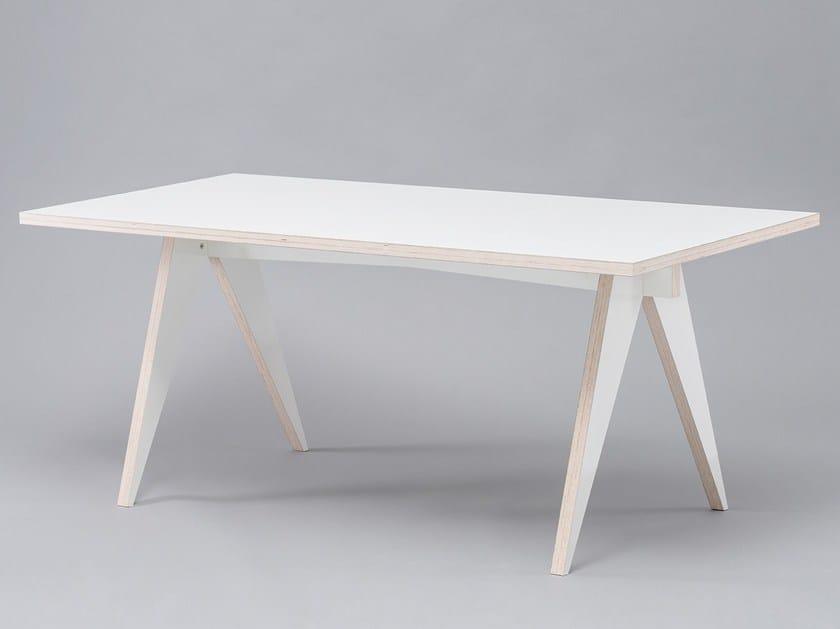 Tavolo da pranzo laccato rettangolare in HPL ST CALIPERS WHITE by ST FURNITURE