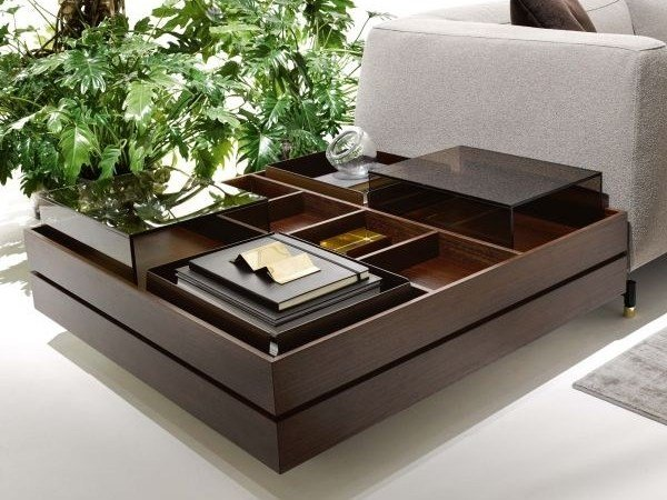 Contemporary style low wooden coffee table with storage space for living room ST. GERMAIN | Coffee table with storage space by Ditre Italia