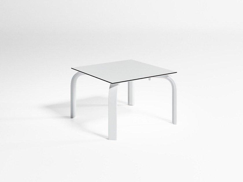 Stackable square aluminium garden side table STACK | Square coffee table by GANDIA BLASCO