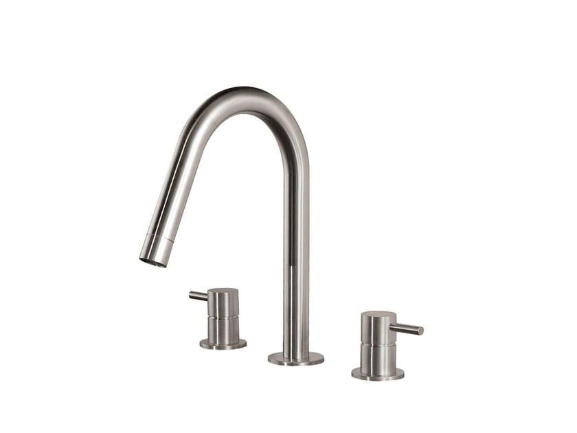 3 hole countertop washbasin mixer STAINLESS | 3 hole washbasin mixer - rvb