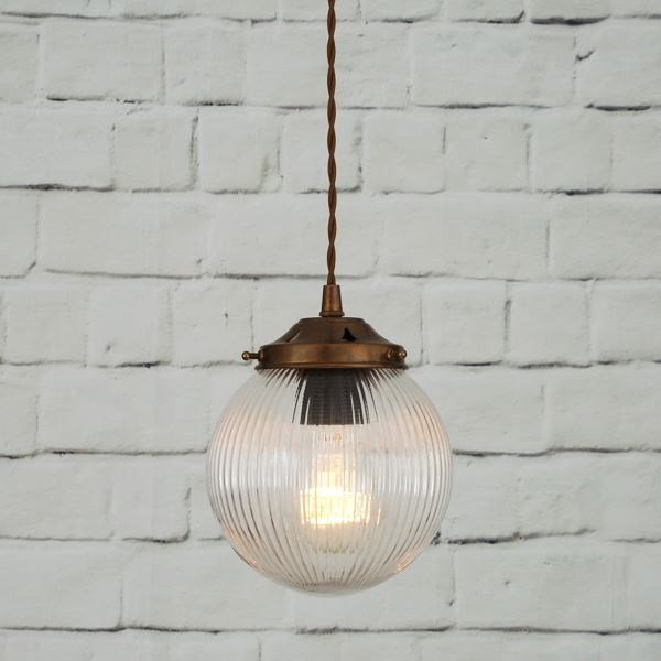 Direct light handmade pendant lamp STANLEY 160MM HOLOPHANE GLOBE PENDANT - Mullan Lighting