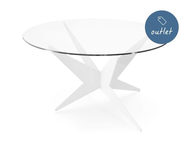 Tavolino basso rotondo triangolare in acciaio in stile moderno STAR   Tavolino rotondo - Lamberti Decor