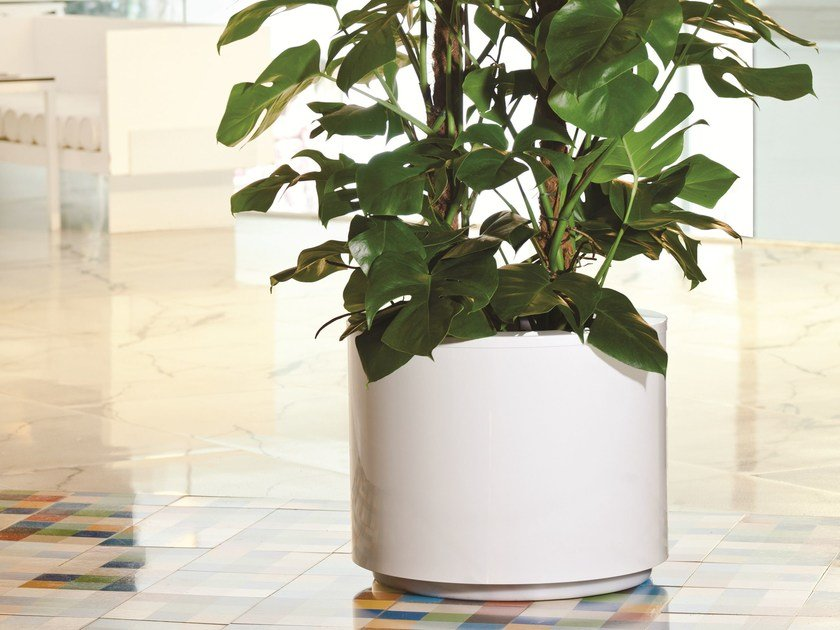 Low round stainless steel plant pot with automatic watering STEEL PLUS | Round plant pot by Hobby Flower