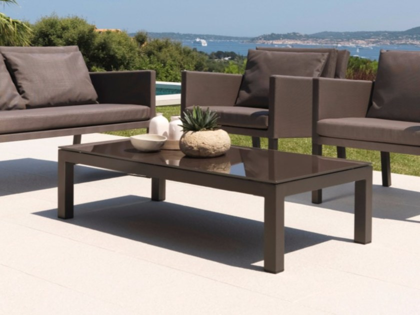Low rectangular tempered glass garden side table STEP | Coffee table - Talenti