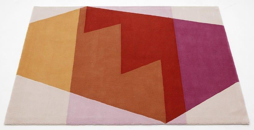 Handmade rectangular rug STEPS - Deirdre Dyson