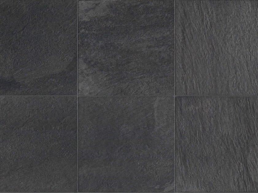 Full-body porcelain stoneware outdoor floor tiles with stone effect STONE D Quarzite grafite - Italgraniti