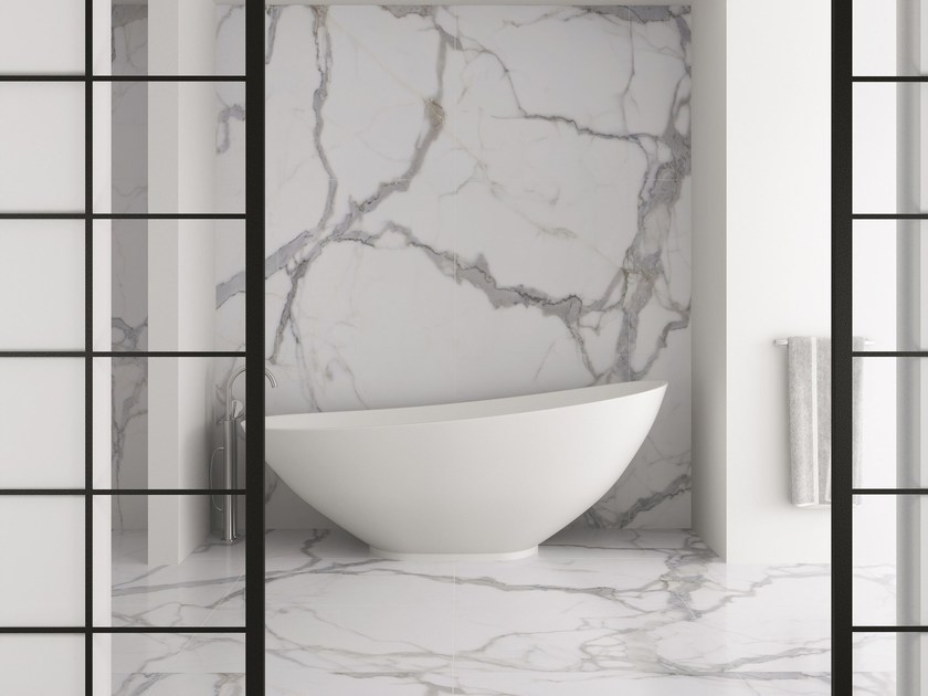 Ultra thin Techlam® wall/floor tiles with stone effect KALOS BIANCO - Levantina