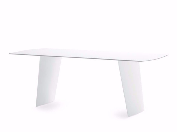 Rectangular polyethylene garden table STONE-R by DOMITALIA