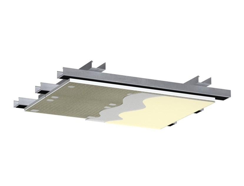 Sound insulation and sound absorbing panel for false ceiling StoSilent Distance by Sto Italia