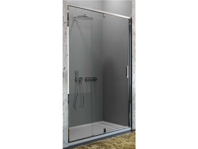 Tempered glass shower cabin with pivot door STRADA - mod. PV - Ideal Standard Italia