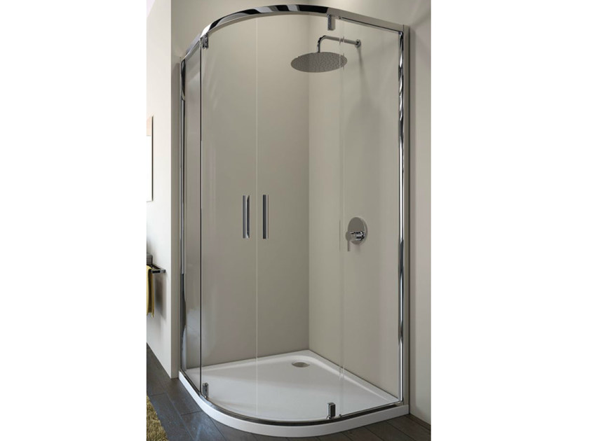 Corner tempered glass shower cabin with pivot door STRADA - mod. R - Ideal Standard Italia