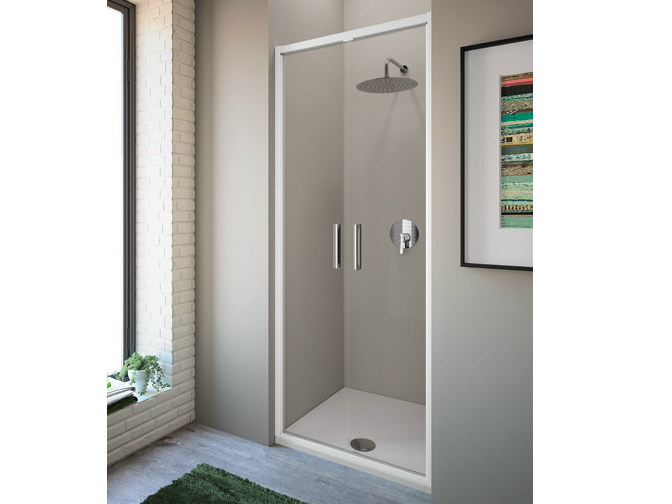 Tempered glass shower cabin with hinged door STRADA - mod. S - Ideal Standard Italia