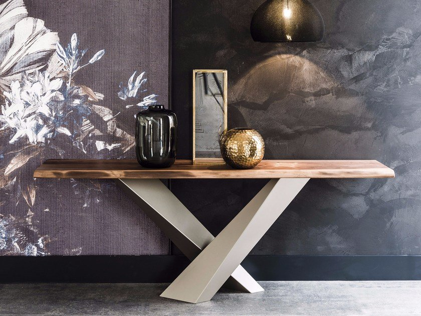 Rectangular steel and wood console table STRATOS | Console table by Cattelan Italia