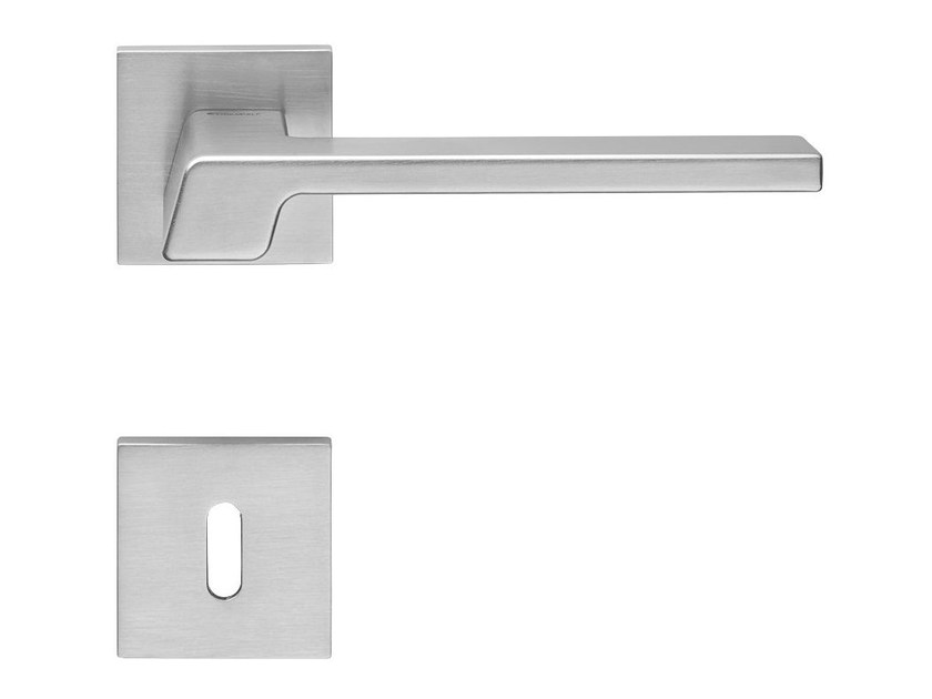 Contemporary style metal door handle with lock STREAM | Door handle with lock - LINEA CALI'