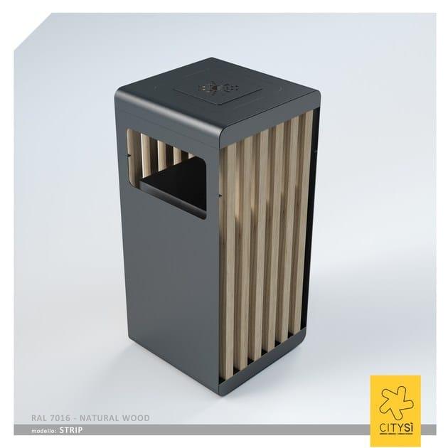 Portarifiuti in metallo con coperchio per esterni STRIP BIN | Portarifiuti con coperchio - CITYSì