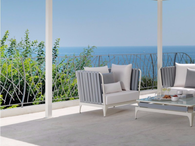 Garden armchair with removable cover with armrests STRIPE | Armchair - Talenti