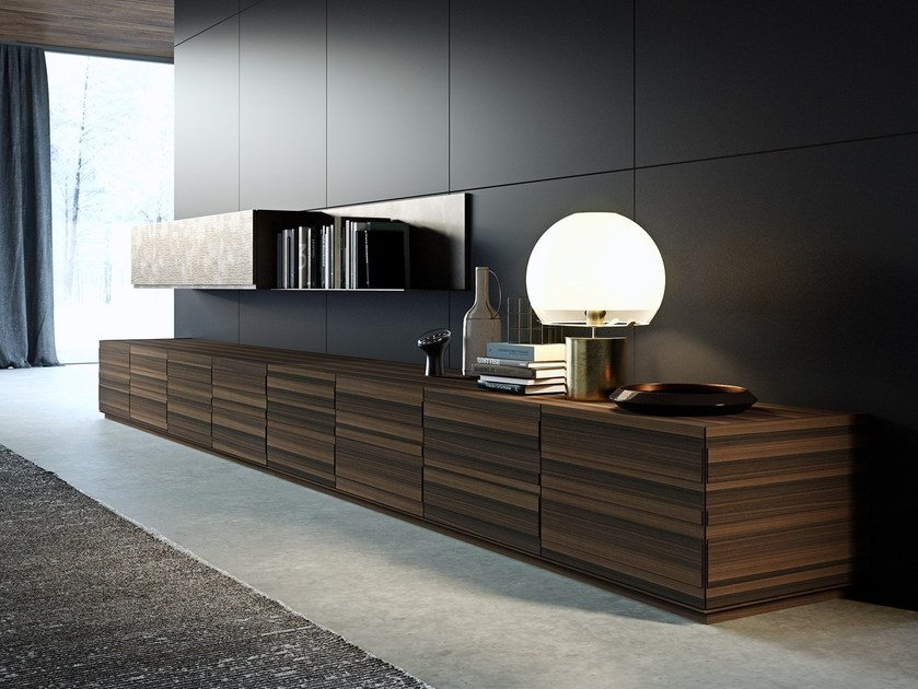 Freestanding storage unit with doors with drawers STRIPE | Storage unit by EmmeBi
