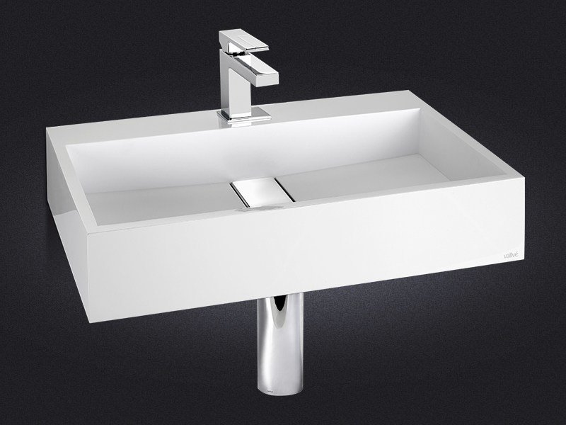 Rectangular wall-mounted resin washbasin STRIPE | Wall-mounted washbasin - Vallvé Bathroom Boutique