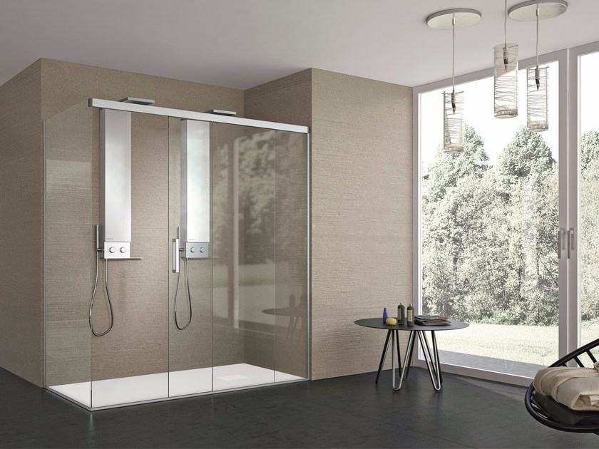 2 places rectangular crystal shower cabin with sliding door STYLÉ - GRUPPO GEROMIN