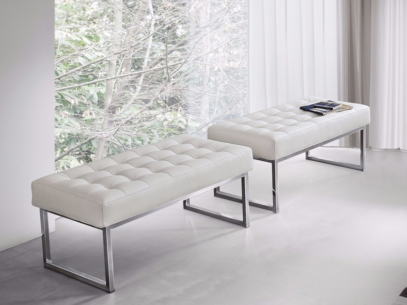 Upholstered leather bench STYLE by Dall'Agnese