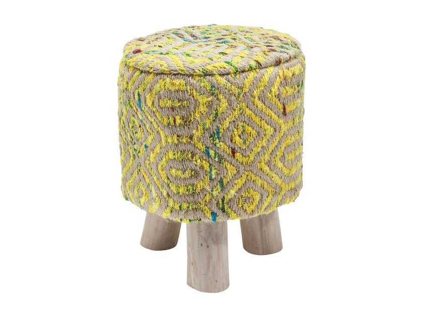 Low fabric stool SUNSET YELLOW | Low stool by KARE-DESIGN