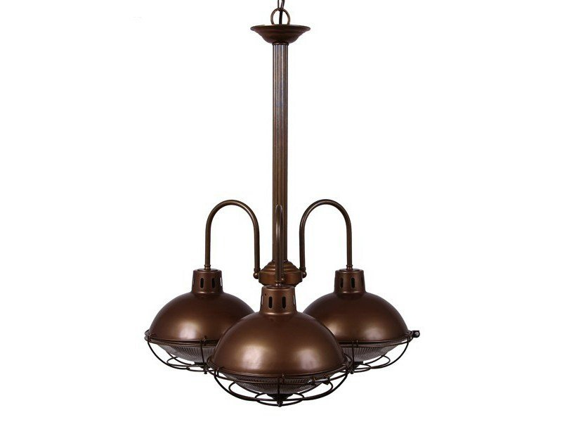 Direct light brass chandelier SUSSEX 3 ARM INDUSTRIAL CHANDELIER by Mullan Lighting