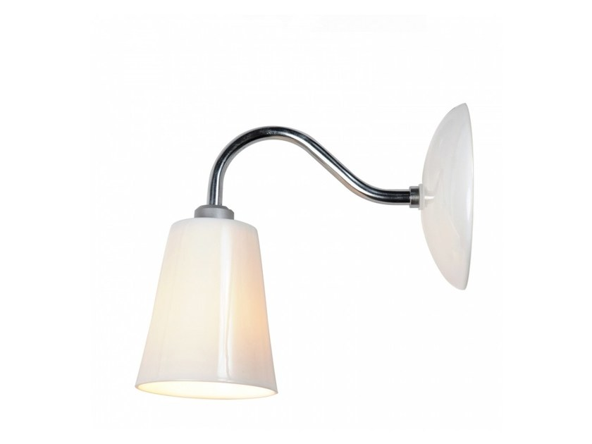 Fluorescent porcelain wall lamp with fixed arm SWAN - Original BTC