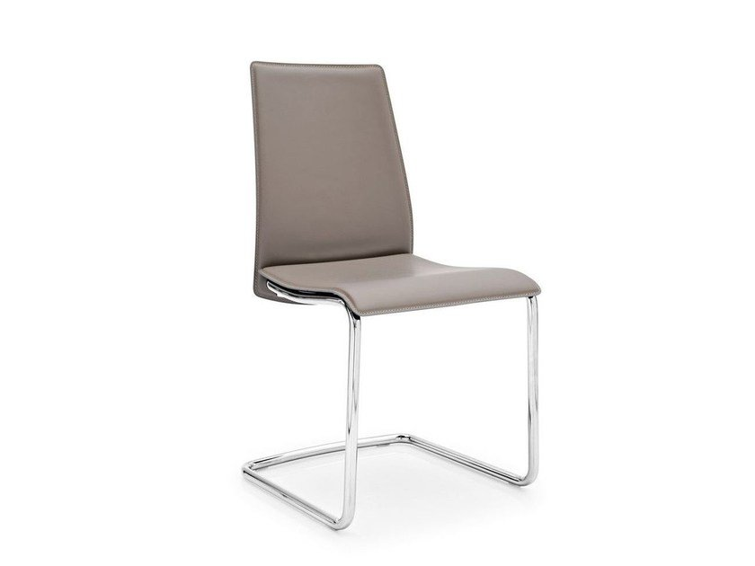 Cantilever tanned leather chair SWING - Calligaris