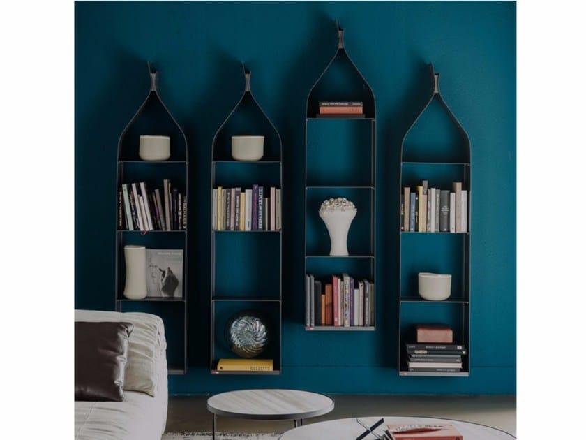Open floating steel bookcase SWING by Cattelan Italia