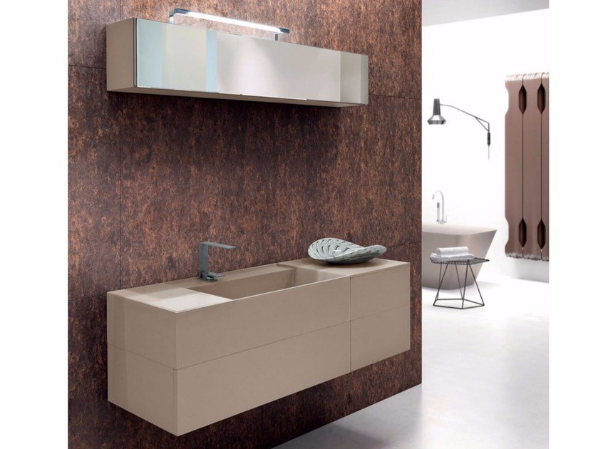 Lacquered single vanity unit with drawers SYN 05 - LASA IDEA