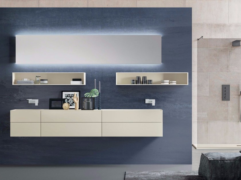 Double wall-mounted vanity unit with mirror SYN 08 by LASA IDEA