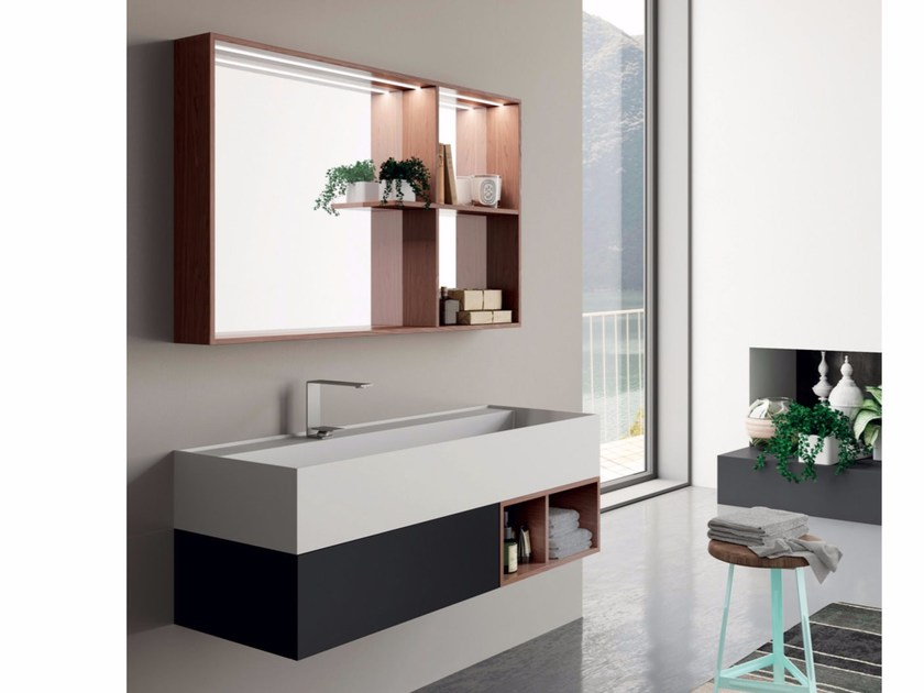 Lacquered wall-mounted vanity unit with mirror SYN 12 - LASA IDEA