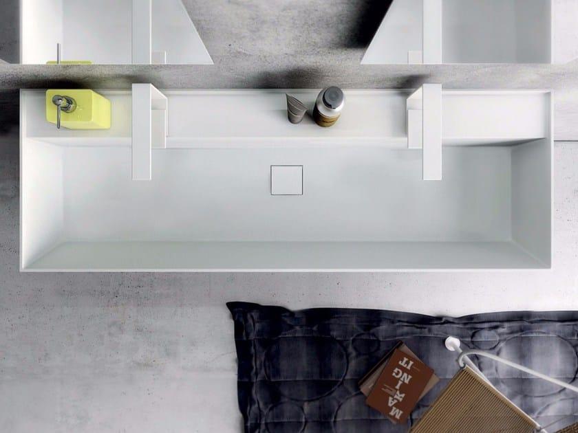 Double rectangular Tecnoril® washbasin SYN | Double washbasin by LASA IDEA