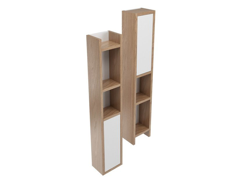 Tall wooden bathroom cabinet SYNTHESIS | Bathroom cabinet - Olympia Ceramica
