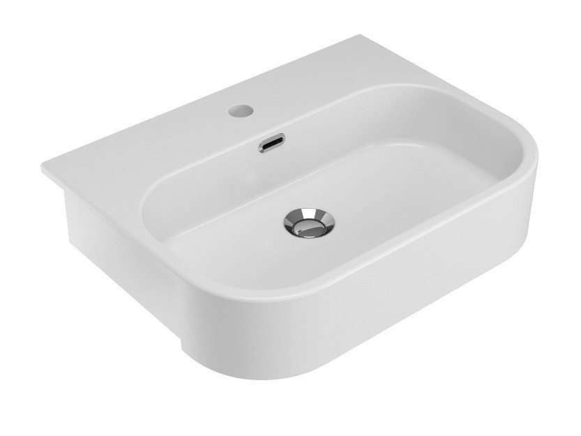 Semi-inset ceramic washbasin SYNTHESIS | Semi-inset washbasin - Olympia Ceramica