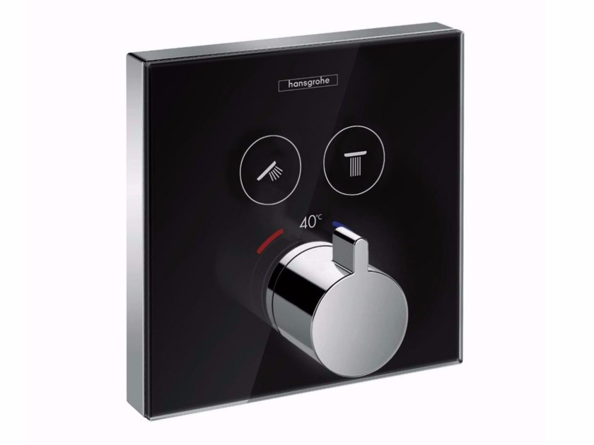 Tempered glass thermostatic shower mixer ShowerSelect - HANSGROHE
