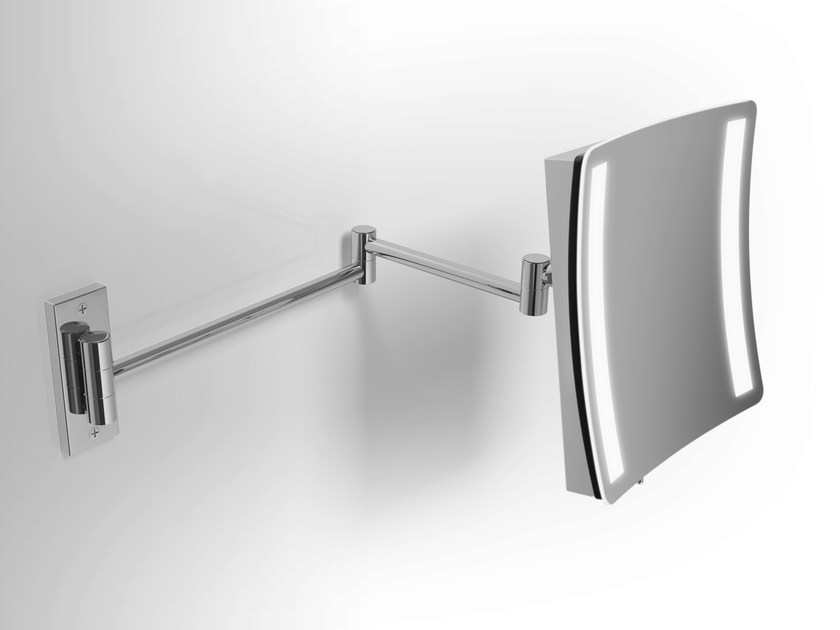Square wall-mounted shaving mirror Shaving mirror with integrated lighting - Alna