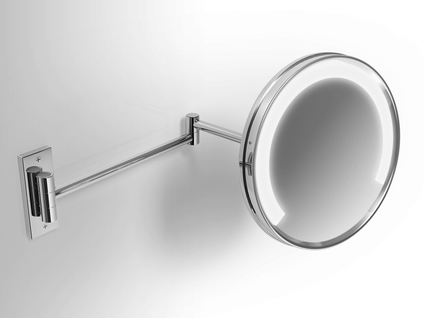 Wall-mounted shaving mirror with integrated lighting Wall-mounted shaving mirror - Alna