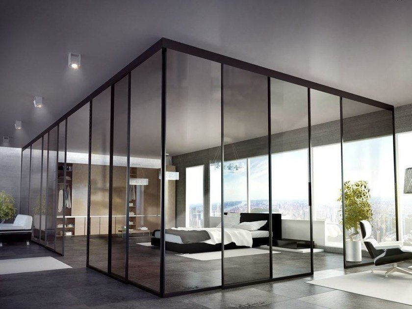 Parete mobile scorrevole in vetro per ufficio SUITE PARTITION by Interno Doors