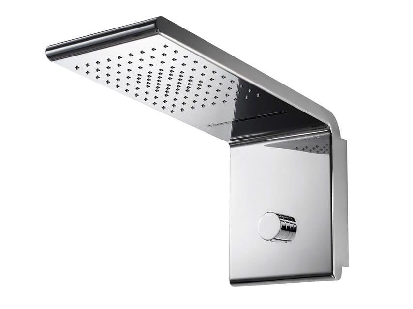 Wall-mounted steel overhead shower SYNCRO RAIN - 3 WAYS - Bossini