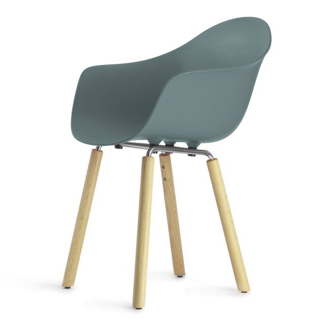 Contemporary style steel guest chair with armrests TA Yi Natural | Poltroncina - KUBIKOFF