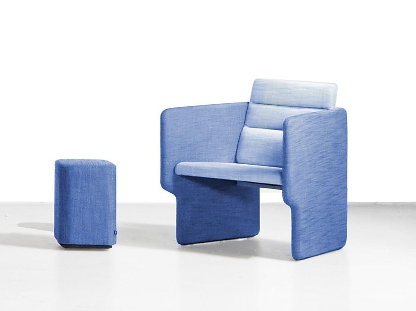 Sled base fabric easy chair with armrests TAB | Fabric easy chair - Derlot Editions