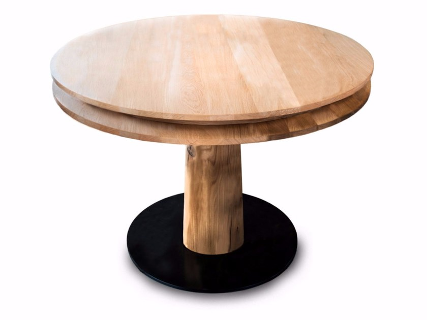 Round solid wood dining table TABLE D'HOT by Riva 1920