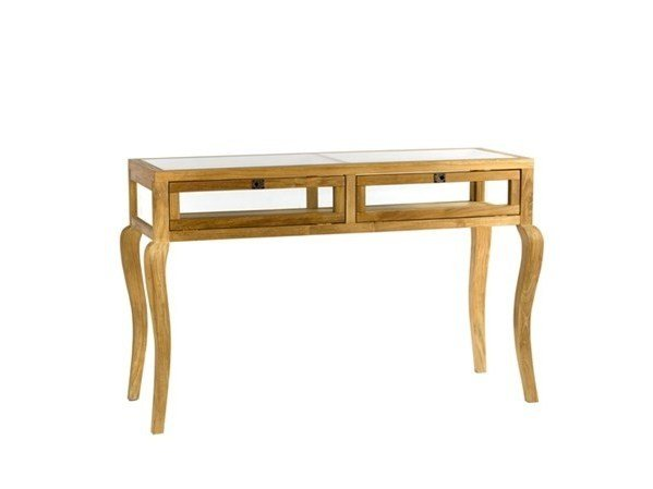 Rectangular wood and glass living room table with drawers TABLE VITRINE CURVED FEET | Wood and glass table - Pols Potten
